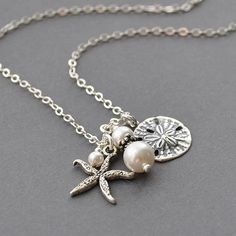 Pearl Pendant Necklace, Nautical Jewelry,   Beach Jewelry, Handmade Sterling Silver Jewelry