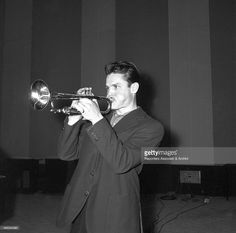 American trumpet player Chet Baker playing trumpet in the record studio of the recording label Rca. 1961