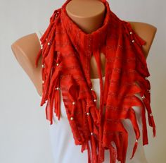 Red jersey beaded fringe chunky scarf -Fashion scarf-Boho scarf-Hippe scarf-70clothing-Gypsy scarf-Women scarf-Winter scarf  You will have all my items in