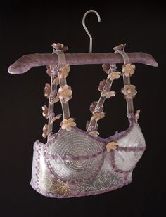 """VIOLET BRASSIERE"" by Susan Taylor Glasgow. Kiln formed glass, mixed media. 12"" x 14"" x 8"""