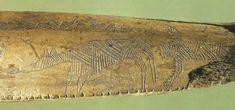 Antler stick with  engraved figures found in Åmosen