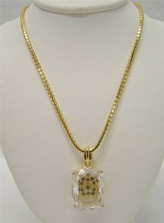 """GOLD OVER 925 STERLING SILVER 20"""" CHAIN W/ CRYSTAL PENDANT GENUINE SAPPHIRES 13g #Pendant"""