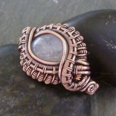 Moonstone in Copper Ring - By Julie Lockhart of Copar Aingeal