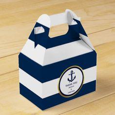 Personalized Navy Blue Nautical Wedding Favor Favor Box