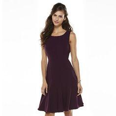 Dana Buchman Solid Fit & Flair Dress - Women's