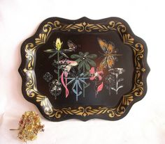vintage toil trays   Vintage Metal Toile Tray Paint by Numbers by VintageHomeShop