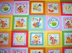 Girly Bugs Labels Birds Frogs Butterfly Fabric 1 Panel - product images  of
