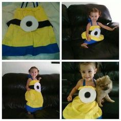 I want to make an adult sized version. Because you know, I'm an adult sized kid. Despicable Me Party, Minion Party, Minion Dress, Monkey 3, Minions Love, Diy Gifts For Kids, Homemade Costumes, Little Monkeys, Halloween Costumes
