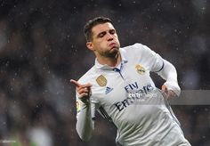 Mateo Kovacic of Real Madrid celebrates after scoring Real's 1st during the La Liga match between Real Madrid CF and Real Sociedad de Futbol at the Bernabeu on January 29, 2017 in Madrid, Spain.
