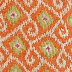 Marakesh Collection - Tangerine by Duralee Textiles, Textile Patterns, Color Patterns, Print Patterns, Clementine Book, Kitchen Fabric, Custom Window Treatments, Zig Zag Pattern, Fabulous Fabrics
