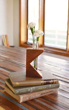 Rustic laboratory bud vase, test tube bud vase, vintage fir, industrial flower vase, reclaimed wood vase, glass bud vase