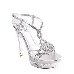 Wild Rose Beautiful Rhinestone Strapped Ankle Buckled Prom Silver Sandals Calista01 (5.5)