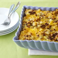 Sausage-Hash Brown Breakfast Casserole   Combine frozen hash brown potatoes with sausage, eggs, and cheese for a hearty, 5-star-rated breakfast or brunch casserole that can be prepped ahead and baked the next morning. Sauté one large onion and one bell pepper in the pork drippings for extra flavor and color. Tip from the recipe developer: To make mini frittatas, cook in 6-inch cast-iron skillets for 30 minutes at 375. Top with sliced avocados, pico de gallo, and a dollop of sour cream and