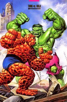 Thing vs Hulk by Joe Jusko Hulk Marvel, Marvel Comics Superheroes, Marvel Heroes, Hulk Comic, Avengers, Comic Book Characters, Comic Book Heroes, Marvel Characters, Comic Books Art
