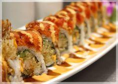 Fire Maki - Shrimp tempura and avocado with spicy tuna on top