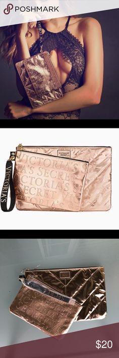 "Victoria's Secret 2-PC ROSE GOLD CLUTCH SET!!! Brand New in Sealed Packaging Victoria's Secret 2017 Rose Gold Clutch Set  One Clutch & One Pouch  = Two Piece Set  Clutch Set Approx. Measurement's: Clutch: 11.75''W x 7.75""H. Pouch: 9""W x 6""H.   Patent Metallic Nylon. Victoria's Secret Bags Clutches & Wristlets"