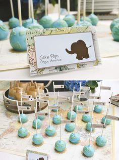 (Global cake pops decorated with graphic elephants and other worldly animals for a baby shower.) These would be a good idea for the the Break the Silence fundraiser. Use labels to put symptoms and facts on each one.