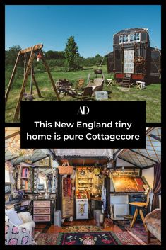 Every single detail in this tiny home, built from materials from a film set, is perfectly suited for cottage style. #Cottagecore #rustic #country #maximalism #collected #vintage #antique #rural