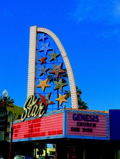 """Retro Neon Sign for """"Star Theater"""" in Oceanside, CA by trueself2000, via Flickr Drive In Theater, Movie Theater, Vintage Neon Signs, Roadside Attractions, Old Signs, Googie, Star Art, Street Signs, Vintage Movies"""