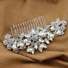 Handmade Crystal Bridal Hair Comb Wired Pearl Headpiece Rhinestone Wedding Jewelry Accessories Wholesale