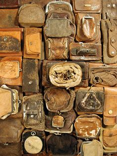 Collection of old leather coin purses