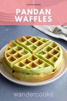 Whip up a batch of Vietnamese style Pandan Waffles in less than 15 minutes. Chewy, fluffy and a little bit crispy, these bright green waffles are filled with coconut and pandan flavours. Easy Desserts, Delicious Desserts, Dessert Recipes, Pastries Recipes, Potluck Recipes, Easy Asian Recipes, Vietnamese Recipes, Indian Recipes, Pavlova