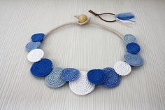 Necklace Circles, Crochet Necklace, Statement Necklace, Cotton Summer Fashion, Crochet Jewelry, White Blue Necklace, Necklace, Bib Necklace