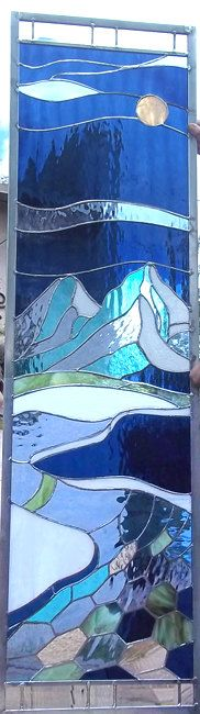 Stained Glass WIndow  Crystal Mountains  by stainedglassfusion, $599.00