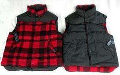 Polo Ralph Lauren Men Large Reversible Down Leather Wool blen Red Black Vest NWT #PoloRalphLauren #ReversibleVest