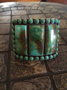 WOW!!! SPECTACULAR TURQUOISE BRACELET BY NAVAJO ANTHONY SKEETS 130GRAMS!!