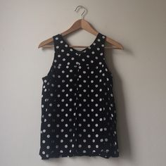 Madewell Pleated Polka Dot Swing Top Really cute polka dot swing top with pleats that reveal a smaller polka dot pattern. High v-neck collar and sleeveless. Cropped length. 100% viscose. Only worn twice! Madewell Tops Blouses