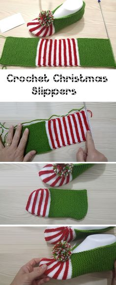 The way to Make Christmas Slippers - Design Peak - Best Knitting Pattern Knit Christmas Ornaments, Christmas Scarf, Christmas Knitting, Diy Christmas, Christmas Decorations, Crochet Gratis, Free Crochet, Knit Crochet, Free Knitting