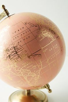 Slide View: 3: Decorative Globe. Beautiful rose gold globe, home inspiration and ideas. Globe.