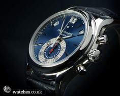 Patek Philippe Annual Calendar Chronograph Watch - 5960P-015. Lovely Matt Blue Sunburst Dial  with Applied Gold Hour Markers.  Looking to buy a pre owned Patek or sell your Patek Philippe? Contact us www.watches.co.uk