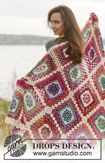 """Summer Nights - Crochet DROPS blanket in """"Delight"""" and """"Fabel"""". - Free pattern by DROPS Design"""