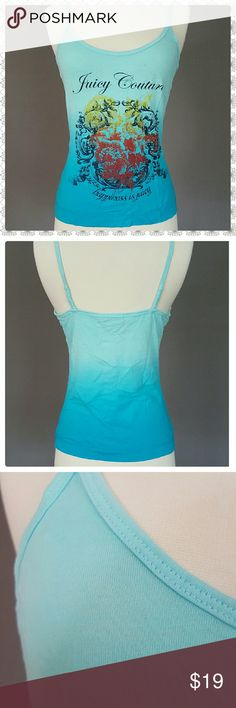 """JUICY COUTURE Top EXCELLENT condition Juicy Couture knit tank top. Beautiful sky blue ombre, straps are partially elastic on the back for a perfect fit. Loose fit, will fit M .  Size S Length 15"""" armpit to bottom Juicy Couture Tops Tank Tops"""