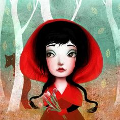 Red Riding Hood   Illustrations by Lisa Falzon  Alice, Snow White, Cinderella, Gretel, Red, Briar Rose // Stunning fairytale illustrations