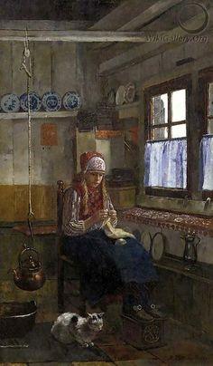 Interior von dem Insel Marken; Rudolf Hirth du Frenès (1846 – 1916, German) #NoordHolland #Marken