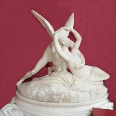 "A wonderful implementation of ""Psyche and Cupid"" at the late 19th C. Fausto Biggi Italian White Marble Statue available on Art Forum."