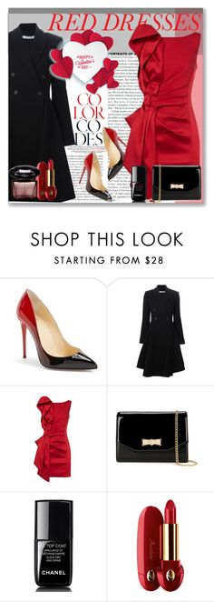 """""""The Dress Adventure"""" by perlarara ❤ liked on Polyvore featuring Christian Louboutin, Givenchy, Ted Baker, Chanel, Guerlain, Versace, women's clothing, women, female and woman"""