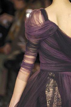 aubergine netting gown
