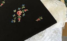 Black satin evening bag Hand embroidered made by TwoSwansSwimming