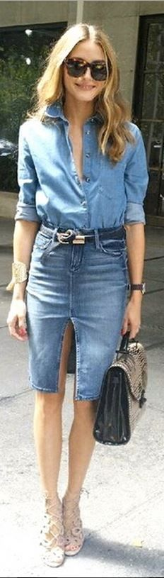 Who made Olivia Palermo's brown sunglasses, denim skirt, button down shirt, snake print handbag, and lace up sandals that she wore in New York