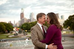 Philadelphia downtown center city skyline from Art Museum steps engagement session, Hannah Chen Photography, www.hannahchenphotography.com