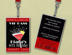 Personalised Cocktail Party VIP Lanyard by deezeedesign on Etsy, $20.00