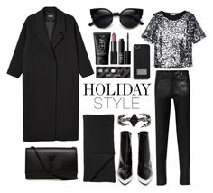 """""""Holiday Style: Leather Pants"""" by eva-jez ❤ liked on Polyvore featuring H&M, Jeffrey Campbell, Mason by Michelle Mason, Monki, MICHAEL Michael Kors, Yves Saint Laurent, KD2024, NARS Cosmetics and holidaystyle"""