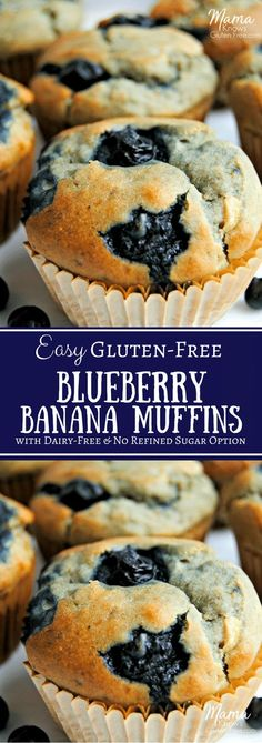 only gluten-free blueberry banana muffin recipe you'll ever need; a one bowl wonder! No mixer required for these super moist gluten-free blueberry banana muffins. Dairy-free and no refined sugar option. Sugar Free Muffins, Gluten Free Blueberry Muffins, Banana Blueberry Muffins, Gluten Free Banana, Blueberry Recipes Sugar Free, Banana Bread, Blueberries Muffins, Healthy Muffins, Banana Recipes