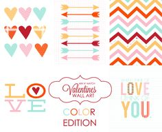 Mix N' Match Valentines Wall Art. Color edition. Pick your favs and put them as a grouping on your wall!#valentines