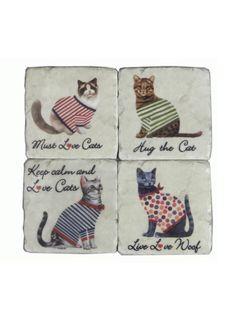A Loja do Gato Preto | 4 Bases Copos Gatos #alojadogatopreto
