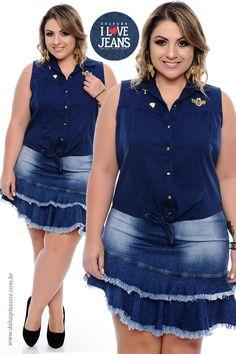 Camisa Jeans Plus Size Wanda - Coleção I Love Jeans Plus Size - daluzplussize.com.br